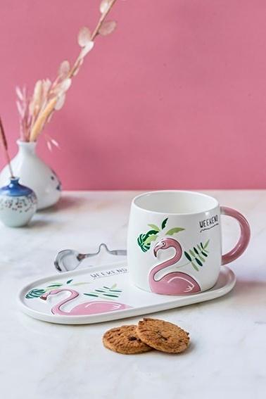 Arma House Flamingo Motifli Tabaklı Kupa Bardağı Seti Renkli